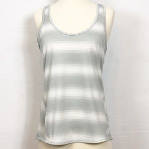 Athleta Grey & Cream Striped Racerback Tank Size M